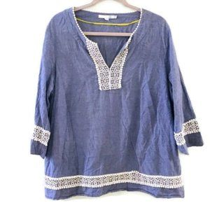 BODEN Hampton blue chambray embroidered tunic top